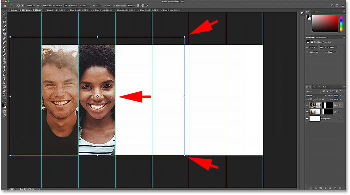 Resizing and moving the second image in the collage with Photoshop's Free Transform command