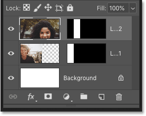 Photoshop's Layers panel showing the second image placed in the collage