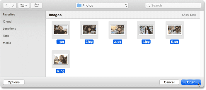 Selecting and opening the images that will be added to the Photoshop collage