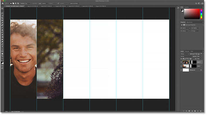 The result after pasting the second image into the new selection in Photoshop