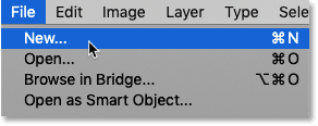 Selecting the New command from under the File menu in Photoshop