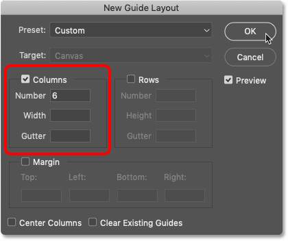 The New Guide Layout settings in Photoshop