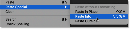 Choosing the Paste Into command in Photoshop