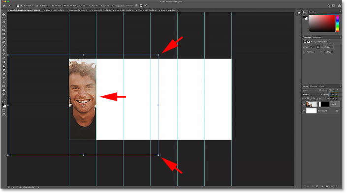 Resizing and moving the image in the collage with Photoshop's Free Transform command