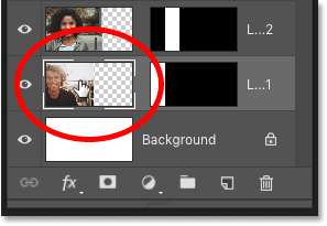 Selecting the first image layer above the Background layer in Photoshop's Layers panel