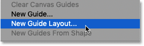 Selecting the New Guide Layout command in Photoshop