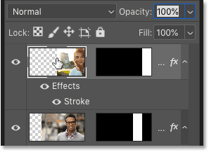 Selecting the top layer in Photoshop's Layers panel