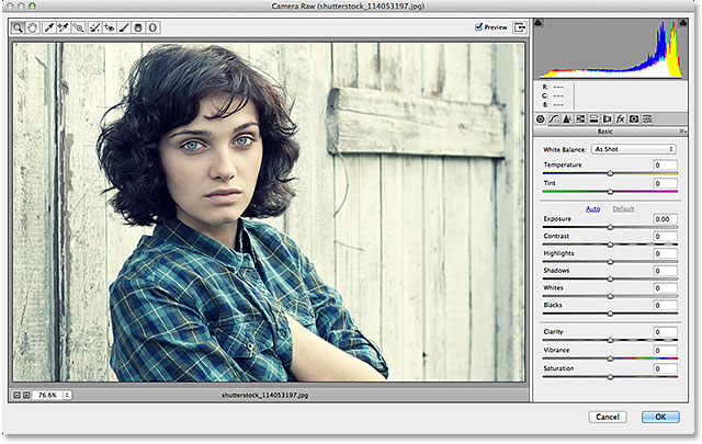 The Camera Raw Filter dialog box in Photoshop CC.