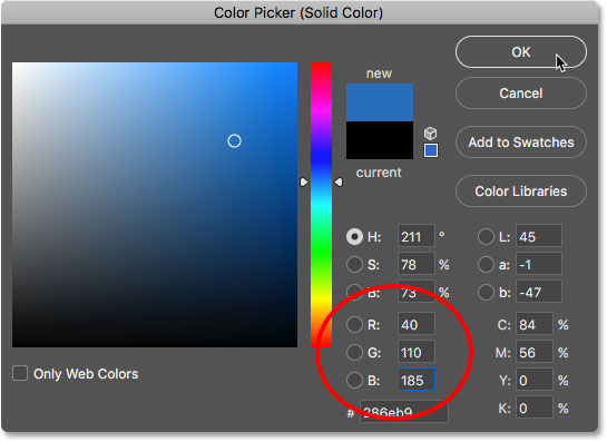 Choosing a blue color for the water reflection in the Color Picker