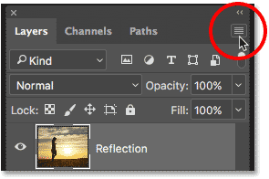 Clicking the Layers panel menu icon on Photoshop
