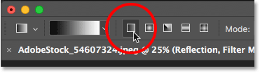 Choosing the Linear gradient style in the Options Bar in Photoshop