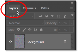 Opening the Layers panel in Photoshop
