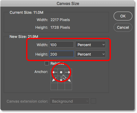 Adding room for the water reflection in the Canvas Size dialog box
