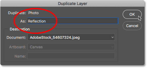 Naming the layer Reflection in the Duplicate Layer dialog box in Photoshop