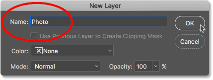 Unlocking the Background layer by renaming it Photo in the New Layer dialog box