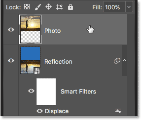 Selecting the Photo layer in the Layers panel