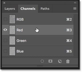 Selecting the Red channel in the Channels panel