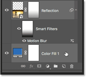 Selecting the water reflection and solid color fill layer in the Layers panel