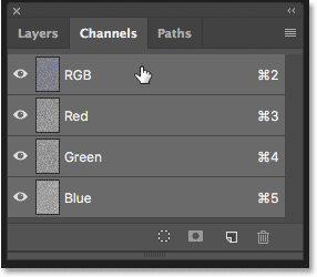 Selecting the RGB channel in the Channels panel in Photoshop