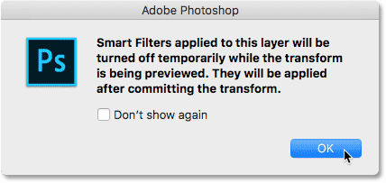 Smart Filters will be turned off while transform is being previewed