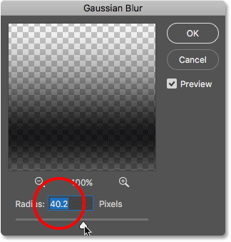 Dragging the Radius slider in the Gaussian Blur dialog box