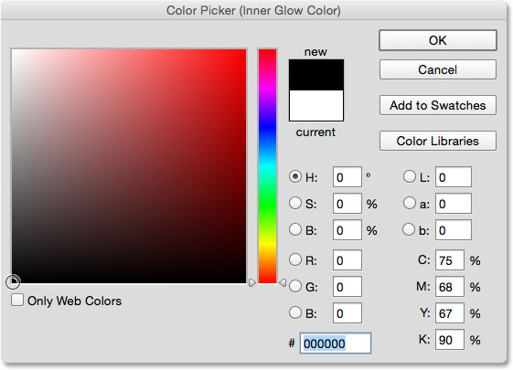 Changing the color of the Inner Glow to black.