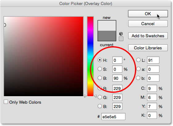 Choosing a light gray from the Color Picker.