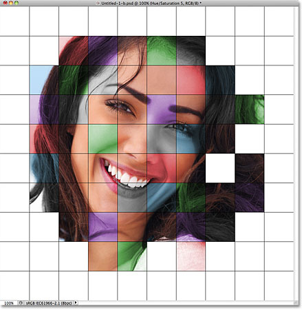The colorized grid effect so far.