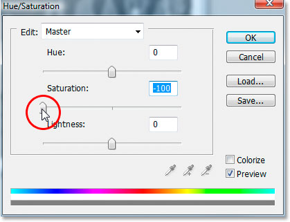 Dragging the Saturation slider all the way to the left to remove the color.