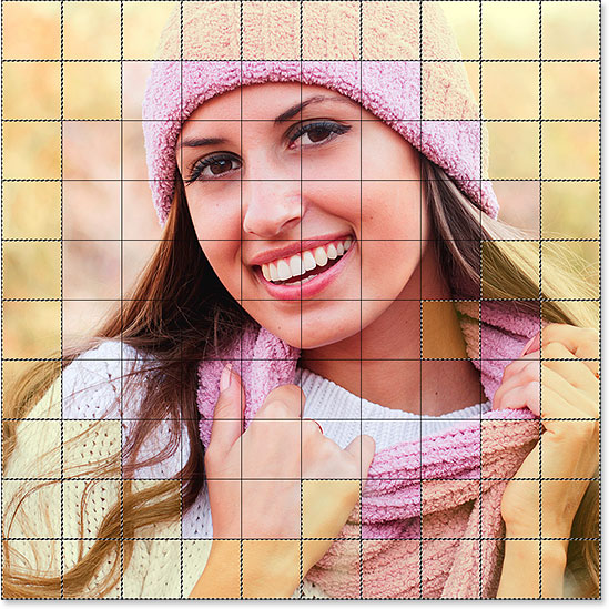 All squares around the outer edges of the grid are now selected.
