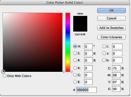Choosing black in the Color Picker.