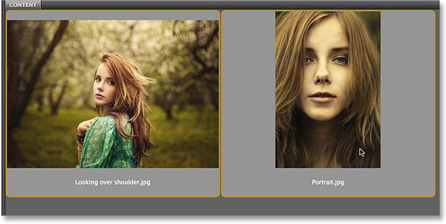 Selecting two images in Adobe Bridge CS6.