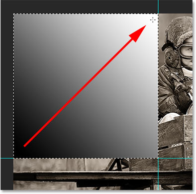 Drawing a diagonal black to white gradient.