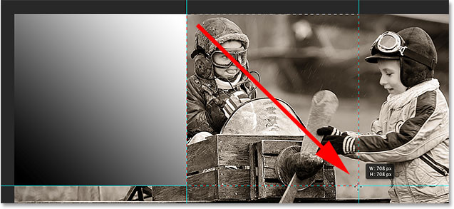 Drawing a selection outline around the top center section of the image.