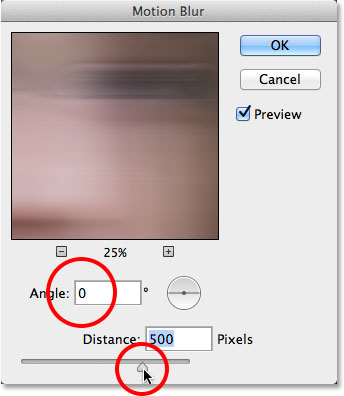 Photoshop's Motion Blur filter dialog box.