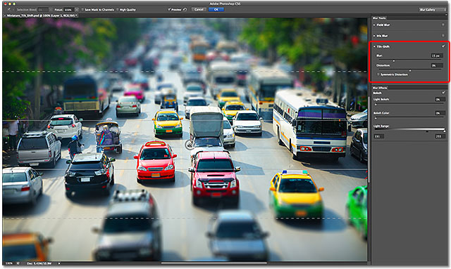 The Blur Gallery open to the Tilt-Shift options in Photoshop CS6.