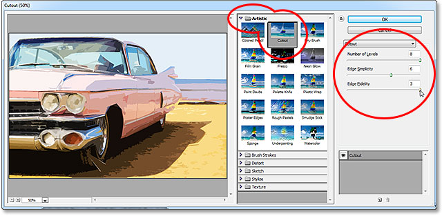 The Cutout filter options in the Filter Gallery in Photoshop CS6.
