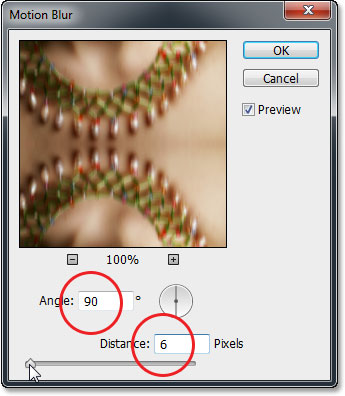 The Motion Blur dialog box and options in Photoshop CS6.