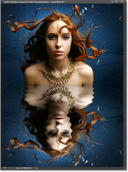 The final water reflection effect in Photoshop CS6.
