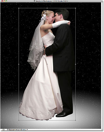 Resizing and moving the wedding couple with Free Transform.