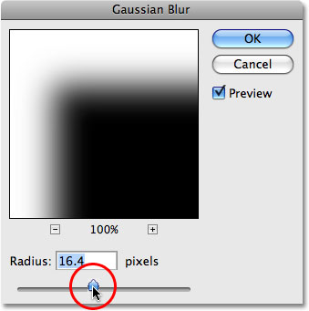 The Gaussian Blur filter in Photoshop CS4.