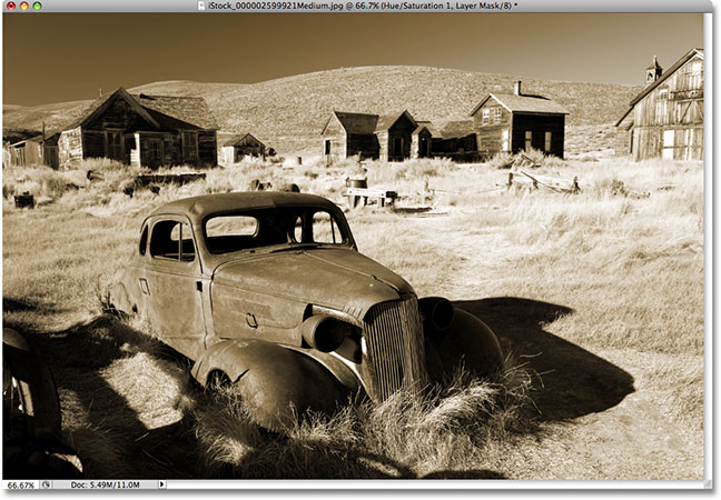 A simple sepia tone effect in Photoshop CS4.