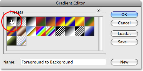 Photoshop's Gradient Editor. Image © 2009 Photoshop Essentials.com