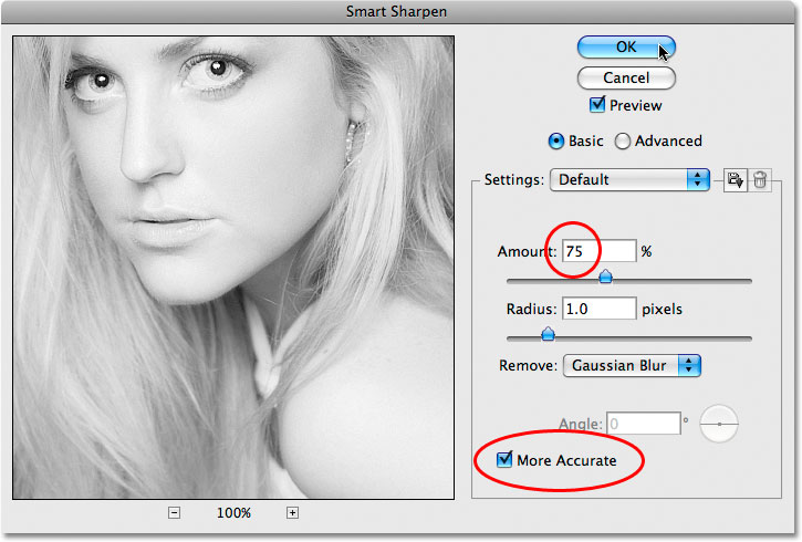 Photoshop's Smart Sharpen filter. Image © 2009 Photoshop Essentials.com