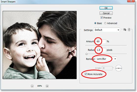 Photoshop's 'Smart Sharpen' filter dialog box.