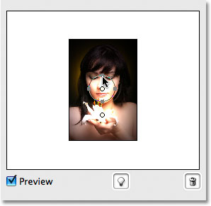 Reducing the size of the second light source. Image © 2009 Photoshop Essentials.com