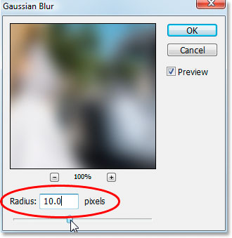 Photoshop's Gaussian Blur dialog box