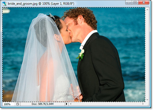 Selecting and copying the image on 'Layer 1'.