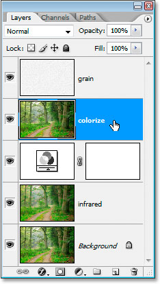 The colorize layer now moved in the Layers palette
