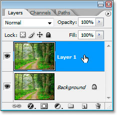 Photoshop's Layers palette now showing the copy of my Background layer directly above it
